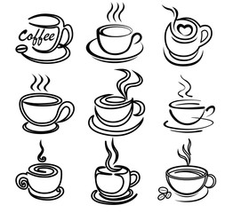 coffee cup art draw vector set for logo design, template, illustration