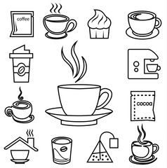 coffee outline icon set with accessories and ingredient