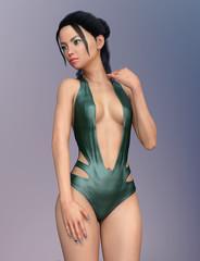 Junge attraktive Frau im Badeanzug