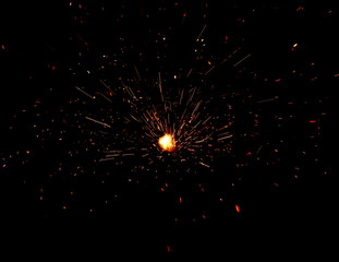 fire flames with sparks on black background