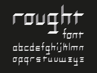 Rought lowercase font. Vector alphabet