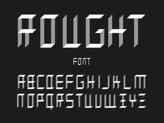 Rought uppercase font. Vector alphabet