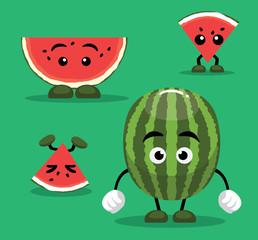Cute Watermelon Cartoon Vector Illustration