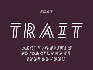 Trait cursive font. Vector alphabet