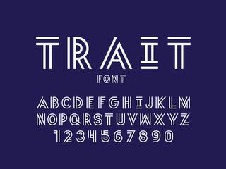 Trait font. Vector alphabet letters