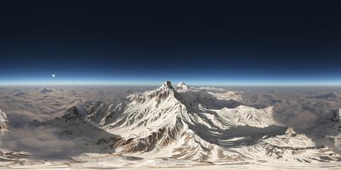 360 Grad Ansicht mit einem Bergpanorama über den Wolken