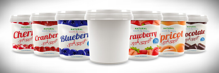 Set of Natural Greek Yogurt packaging container jar design, including strawberry, blueberry, cranberry, cherry, apricot, chocolate taste and blank one, also can be used for ice-cream design
