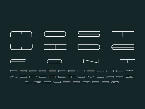 Wide font. Vector alphabet letters and numbers. Typeface design.