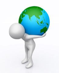 3D Figur mit Globus auf dem Rücken