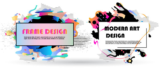 Vector frame for text Modern Art graphics. Dynamic geometric frame. Element for design business cards, flyers and brochures