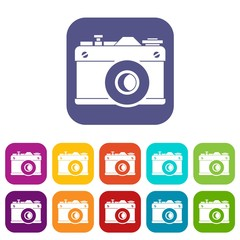 Retro camera icons set vector illustration in flat style in colors red, blue, green, and other