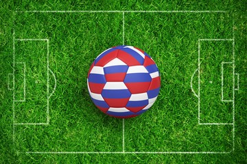 Composite image of football in russia colours