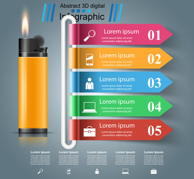Realistic lighter - business infographic and marketing icon. Vector eps10