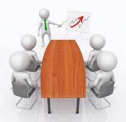Geschäftspräsentation mit 3D Figuren und Konferenztisch