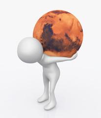 3D Figur mit Planet Mars auf dem Rücken