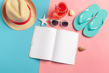Writing Diary Summer Beach Vacation Concept