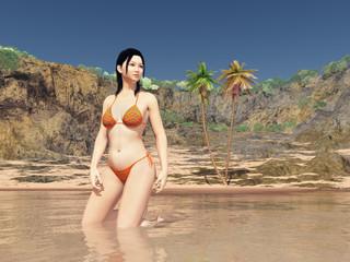 Beautiful Asian woman in bikini near the beach