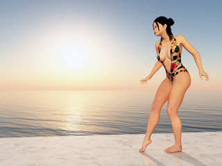 Beautiful Asian woman in swimsuit by the sea in the evening sun