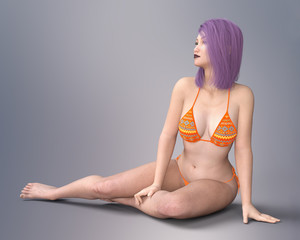 Young Asian woman in bikini with violet hair