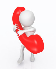 3D Figur mit rotem Telefonhörer