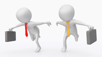 3D Figuren als rennende Geschäftsleute