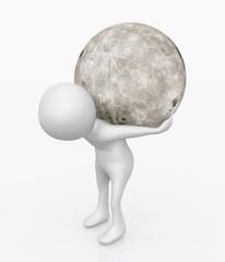 3D Figur mit dem Mond auf dem Rücken