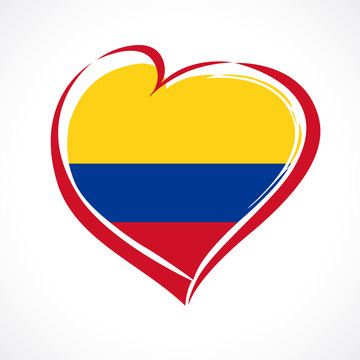 Love Colombia emblem with heart in national flag color. National holiday in Colombia July 20 vector greetings card. Celebration Colombian anniversary of independence 1810