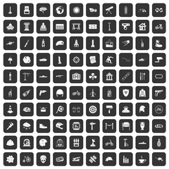 100 helmet icons set in black color isolated vector illustration