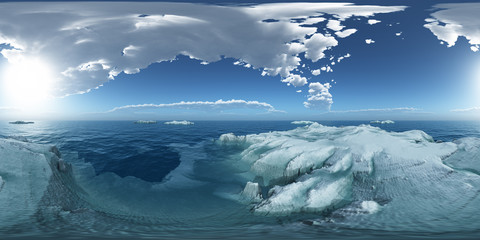 360 Grad Panorama mit Eisbergen im offenen Meer