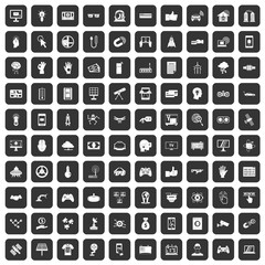 100 hi-tech icons set in black color isolated vector illustration