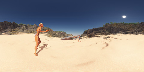 Spherical 360 degrees seamless panorama with crashed spacecraft at the beach