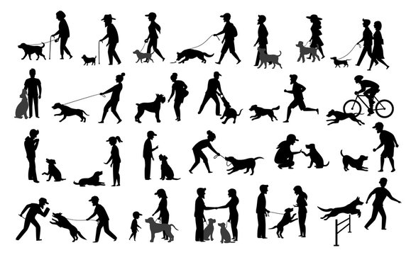 people with dogs silhouettes graphic set.man woman training their pets basic obedience commands like sit lay give paw walk close, exercising run jump barrier, protection, running playing, walking