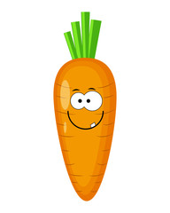 Cute cartoon carrot  character vector illustration isolated on w