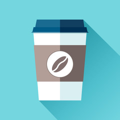 Plastic Coffee cup in flat style on blue background. Drink with you. Simple object. Vector design element for your project
