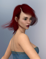 Good looking young woman with blowing red hair in trendy clothes