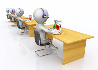 Callcenter mit 3D Figuren