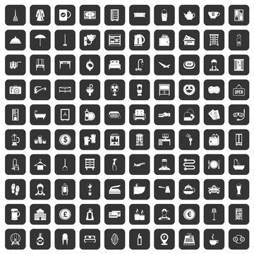 100 inn icons set in black color isolated vector illustration