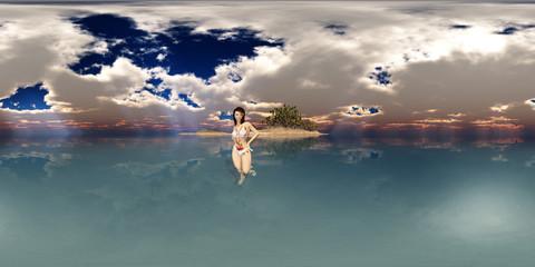 360 Grad Panorama mit attraktiver Frau im Bikini vor einer Insel im Meer