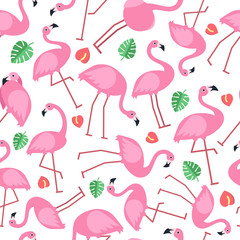 Seamless pattern with pictures of pink flamingo and tropical flowers