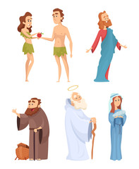Historical characters of bible. Vector mascots in various poses