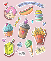Trendy cool set of fast food patch badges in pop art style. Vector collection of hand drawn stickers and pins with meal