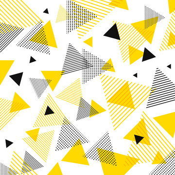 Abstract modern yellow, black triangles pattern with lines diagonally on white background.