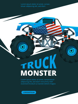 Monster truck poster. Design template of retro placard with illustration of monster truck