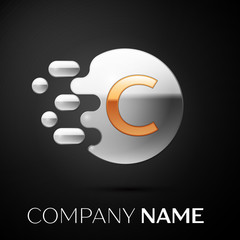 Gold Letter C logo. Silver dots splash and abstract liquid bubble shape on black background. Vector template for your design