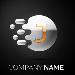 Gold Letter J logo. Silver dots splash and abstract liquid bubble shape on black background. Vector template for your design