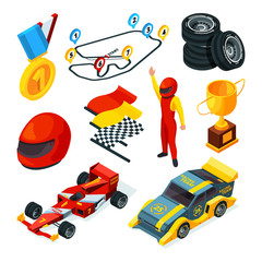 Sport racing symbols. Isometric pictures of racing cars and formula 1 symbols