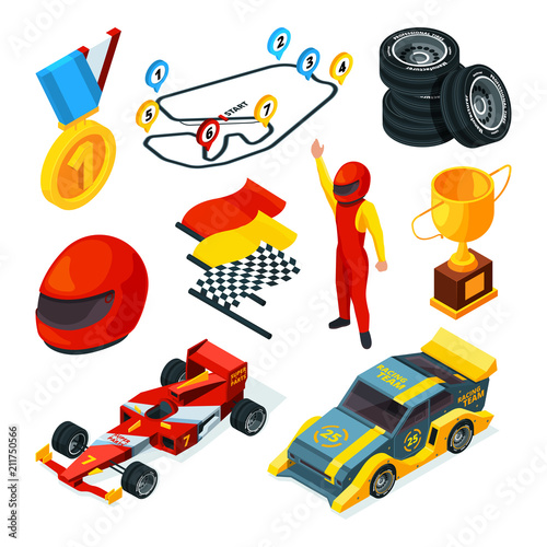 Sport Racing Symbols Isometric Pictures Of Racing Cars And Formula