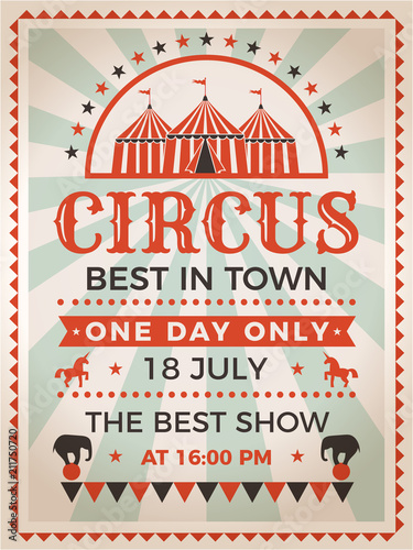 retro poster invitation for circus or carnival show fotolia com の