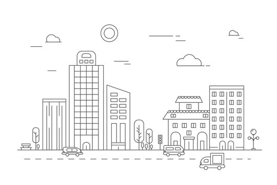 Urban landscape. Vector linear pictures of various city buildings