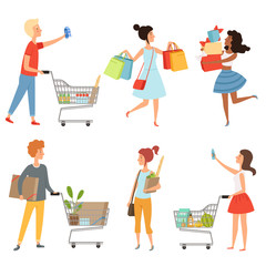 Male and female shopping. Vector pictures of various characters in shop